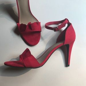 Shoes - NWT A New Day Red Ruffle Sandal Pump Size 11